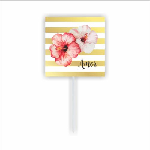 Enfeite Palito Pick Floral Amor  Duster 10 unidades