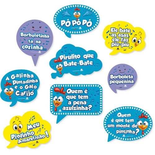 Kit Placas Decorativas Galinha Pintadinha   Festcolor 09 unidades